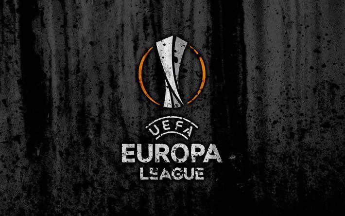 Download wallpapers UEFA Europa League, 4k, logo, grunge, black background, Europa League, UEFA, football, soccer