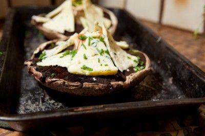 Crab Stuffed Portabella Mushrooms with Blue Cheese on a Miami Onion ...