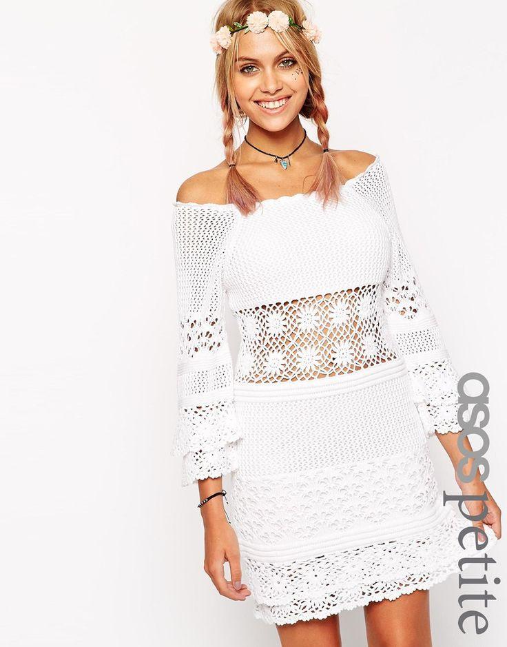 ASOS PETITE Crochet Dress With Off Shoulder