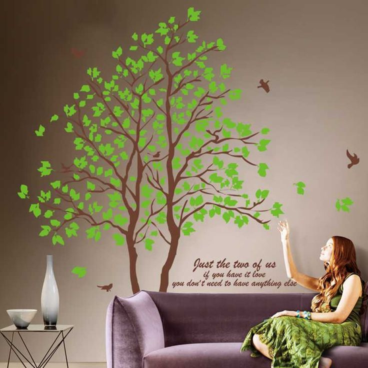 Awesome 2Pieces 60CMX90CM DIY Large Green Tree Vinyl Wall Stickers Home Decor Living Room Bedroom Wallpaper Family Tree Wall Decal