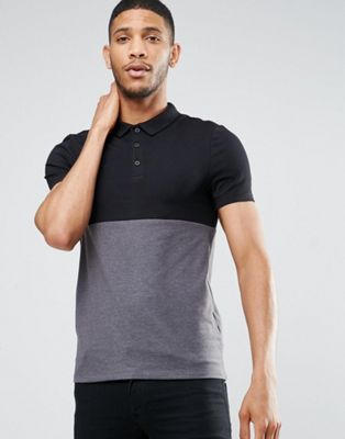 ASOS - Polo moulant bicolore - Noir/anthracite