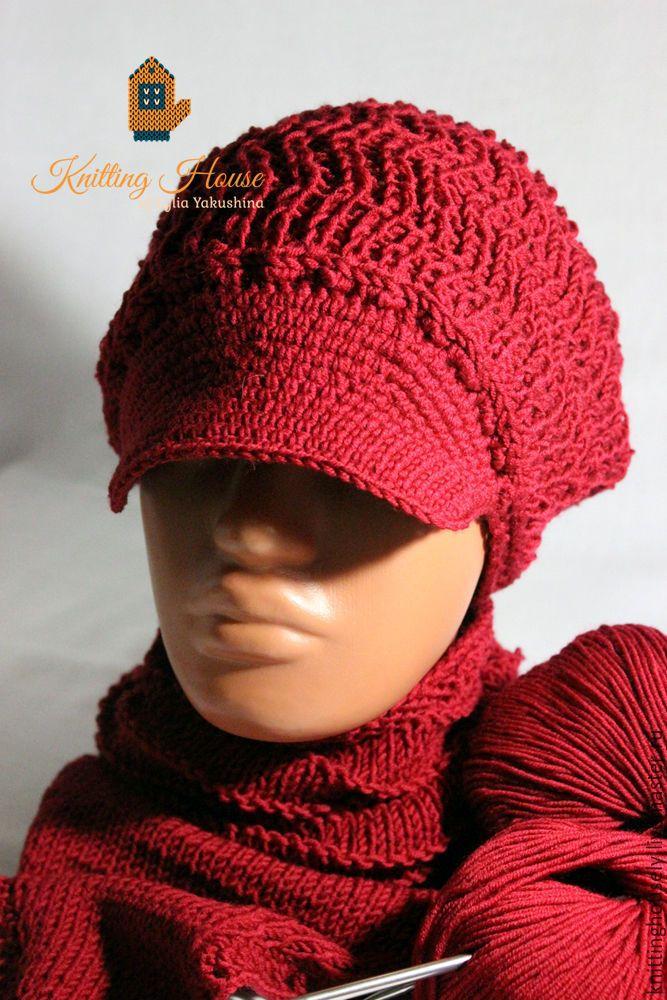 Купить Комплект кепка снуд связан спицами из мериносовой шерсти бордовый цвет - бордовый