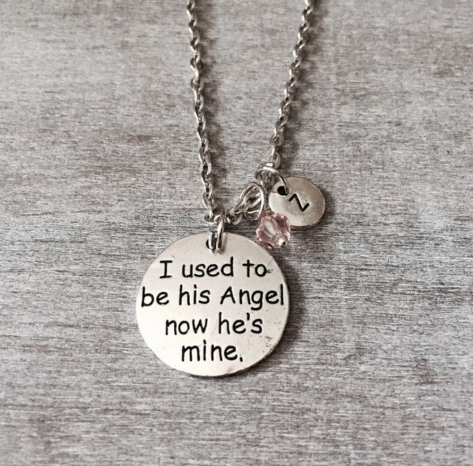 I used to be his Angel now he's mine, Memorial, Gift, Bereavement, loss of loved one, Silver Necklace, Charm, Dad, Daddy, Father,Grandfather by SAjolie, $18.75 USD