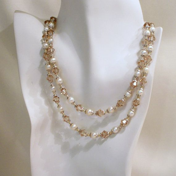 Ceylon Topaz Crystals and Pearl Double Strand by tbyrddesigns, $49.00