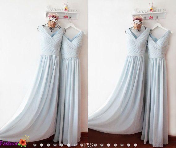 Dusty Blue Bridesmaid Dress,Bridesmaid Dress Prom,Modest Chiffon Straps Bridesmaid Dress,Custom Bridesmaid Dress,Prom Dress,Bridesmaid Dress