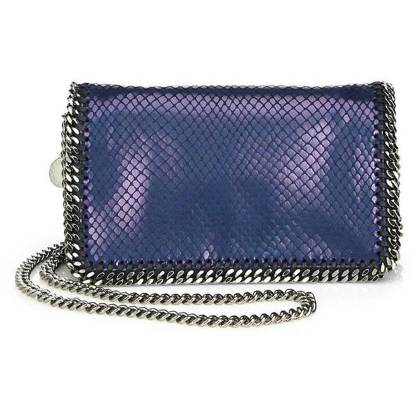 Stella McCartney Falabella Faux-Python Metallic Shoulder Bag ($960) ❤ liked on Polyvore featuring bags, handbags, shoulder bags, apparel & accessories, blue, stella mccartney, stella mccartney handbags, stella mccartney purse, chain strap purse and shoulder bag purse