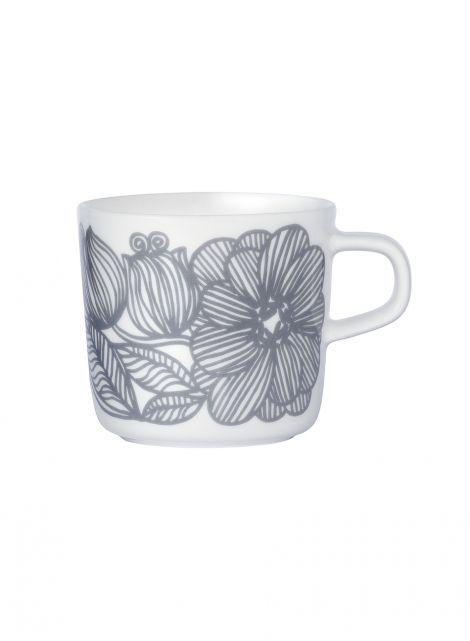 Oiva/Kurjenpolvi-kahvikuppi (valkoinen, harmaa) |Sisustustuotteet, Keittiö, Posliinit, Kupit ja mukit | Marimekko