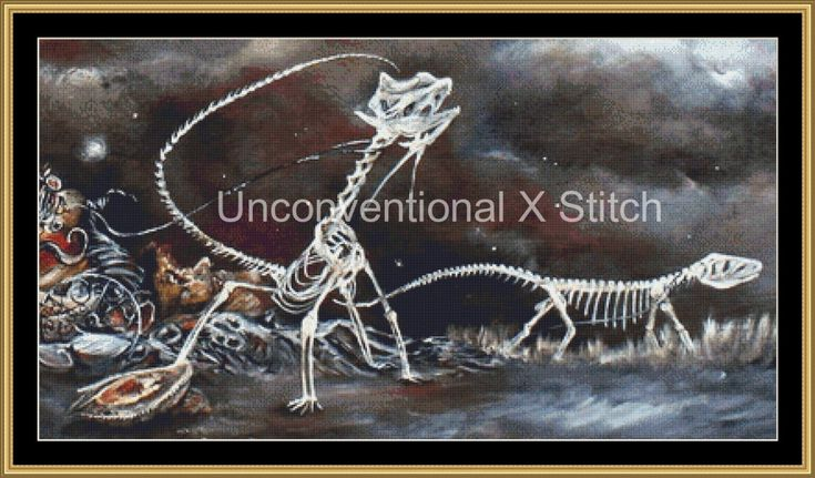 Skeletons cross stitch pattern - modern counted cross stitch - The Inevitability of a Fables Undoing Extract - Licensed Angela AK Westerman by UnconventionalX on Etsy