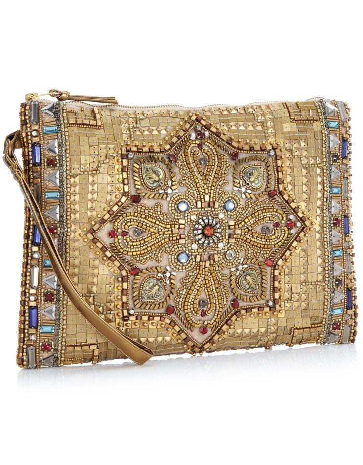 Turkish Treasure Zip Top Clutch   Gold   Accessorize