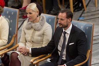 Crown Prince Haakon of Norway and Crown Princess Mette-Marit of Norway attend The Nobel Peace Prize Ceremony at Oslo City Hall on December 10, 2012 in Oslo, Norway.