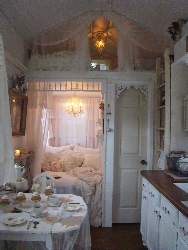 A Joyful Cottage: Living Large In Small Spaces - A Tour of Shabby Chic Tiny Retreat-- I love this!