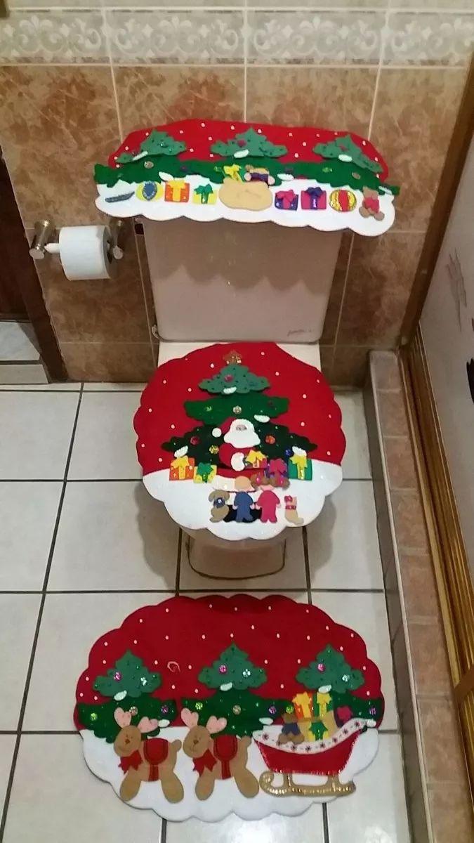juego de baño navideño en fieltro 3 pinos