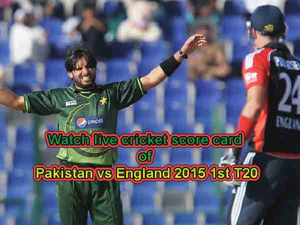 PAK vs ENG Live Scorecard 1st T20 and Pakistan vs England in UAE 2015 Schedule download here. PAK vs ENG 1st T20 Fixtures and Live Scores is available here.