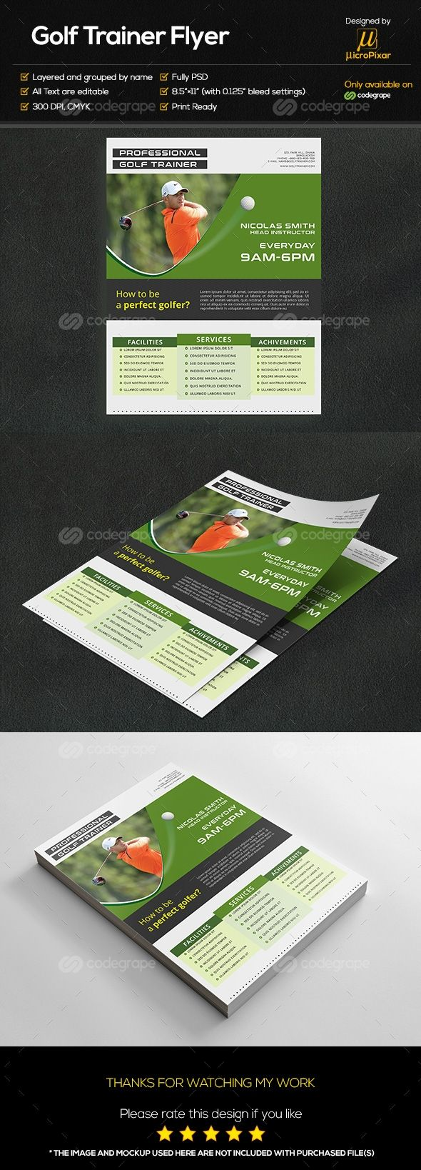Golf Trainer Flyer on @codegrape. More Info…