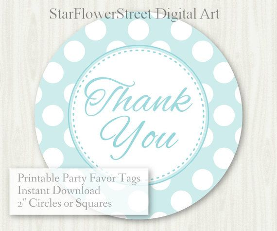 """Baby Shower Favor Tags Baby Boy thank you label polka dot aqua gray turquoise printable digital download decoration party sprinkle hang 2"""" by StarFlowerStreetDA"""