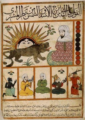 Leo These images come form an egyptian manuscript from the 14th/15th centuries. It reproduces a persian astrological treatise from ~9th century - 'Kitâb al-Mawalid' - by Abû Ma'shar, said to have been the most influential document in the development of western astrology. [I believe it is otherwise known as 'The Book of Nativities' or 'The Book of Revolution of the Birth Years'.]