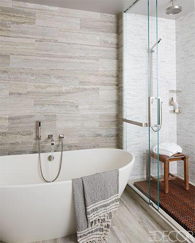Silver vein-cut travertine / A Manhattan Master Bath