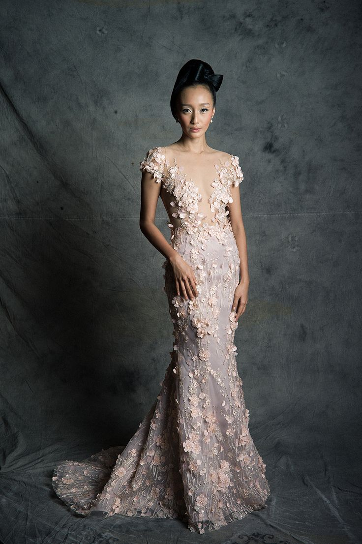 Ok wedding gallery the beauty dress of cheongsam 2013 - Dusky Pink Cap Sleeved Wedding Gown With Illusion Neckline And Floral Appliques East Meets