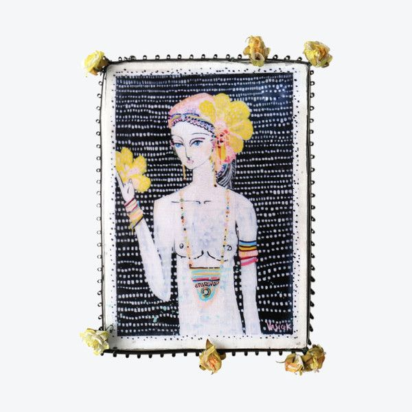• A4 mixed medium decorative tile framed in a brass with flower embellishments• #ahoytrader by Jai Vasicek. Available from Salt Living