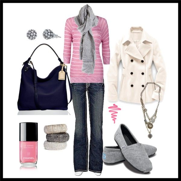 wardrobe: Autumn Outfits, Style, Clothing, Cute Outfits, Toms Shoes, Winter Outfits, Grey, Pink And Gray, Coats