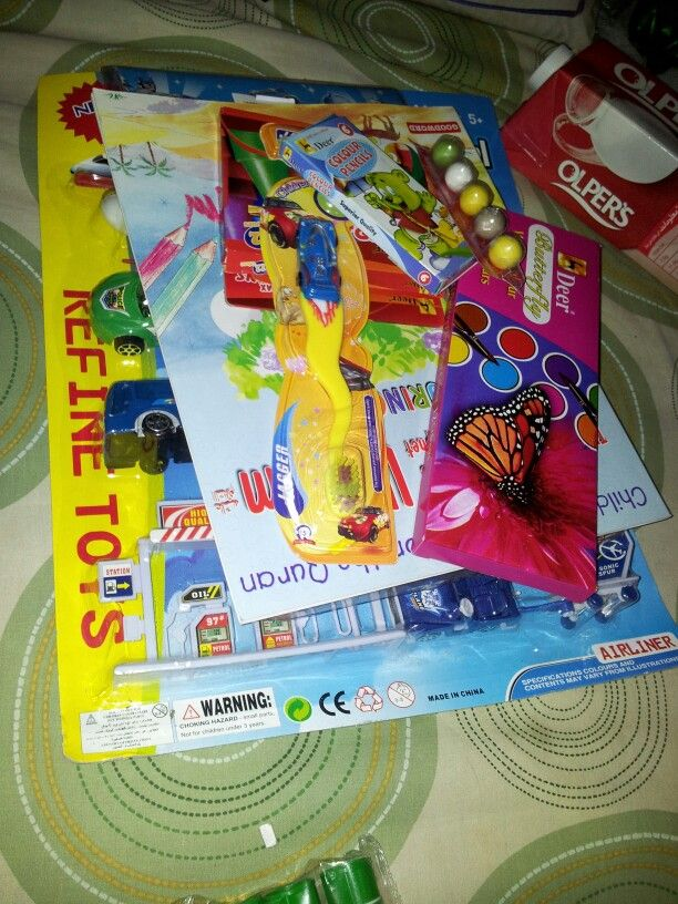 Gifts for my nephews. Bought a set of toys. Coloring books, cryons, paints, pencil colors, a car tooth brush, bubble gum strip, a pack of stationery. Will be adding a pack of cookies, juice and chips in a bag. An eid gift :)