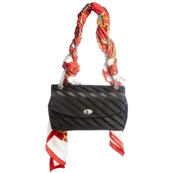 Women's Balenciaga Medium Lock Round Logo Shoulder Bag With Silk Scarf (34,410 MXN) ❤ liked on Polyvore featuring bags, handbags, shoulder bags, logo shopping bags, shoulder hand bags, kiss-lock handbags, shoulder shopping bag and shoulder handbags