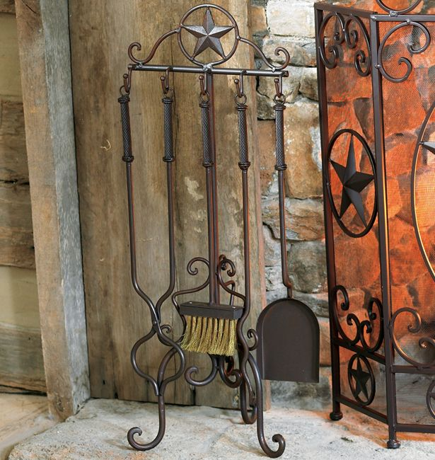Western Furniture: 5-Piece Lone Star Fireplace Tool Set|Lone Star Western Decor