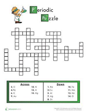 Periodic Table Crossword Puzzle   Worksheets, Periodic ...