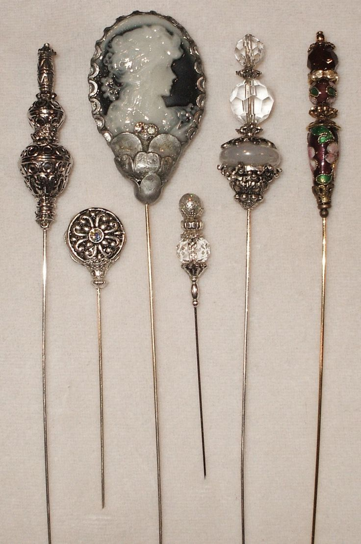 6 Antique style Victorian Hat Pins with vintage and antique pieces by MarysForeverMemories on Etsy https://www.etsy.com/listing/226863395/6-antique-style-victorian-hat-pins-with