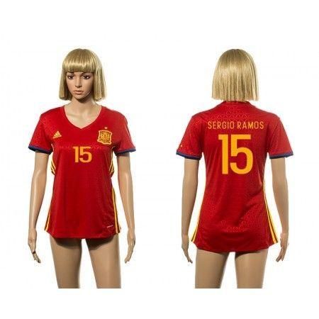 Spanien Fotbollskläder Kvinnor 2016 #Sergio Ramos 15 Hemmatröja Kortärmad,259,28KR,shirtshopservice@gmail.com