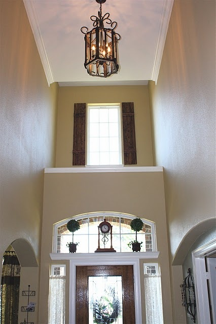 Two Story Foyer Window Treatment : Diy rustic shutters new foyer lighting adding