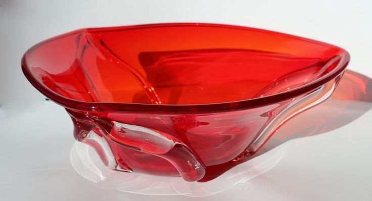 Unusual Triangular Shape Retro MURANO Sexy Orangey Red Glass Centrepiece Bowl