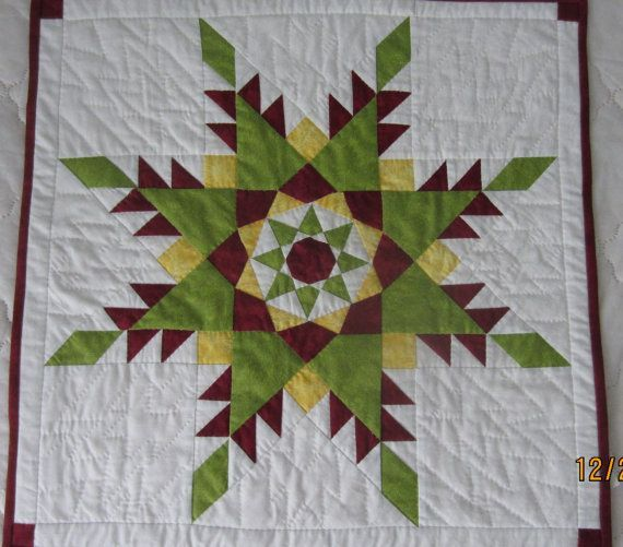 feathered star | Feathered Star Quilt Block 22 x 22 Wall Hanging by SugarQuilts…