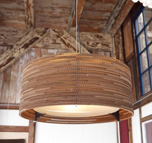 Lampe suspension contemporaine en carton récupéré - SCRAPLIGHTS: DRUM - ArchiExpo