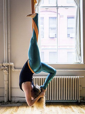aeriel yoga - will try this to practice grabbing my foot over my head