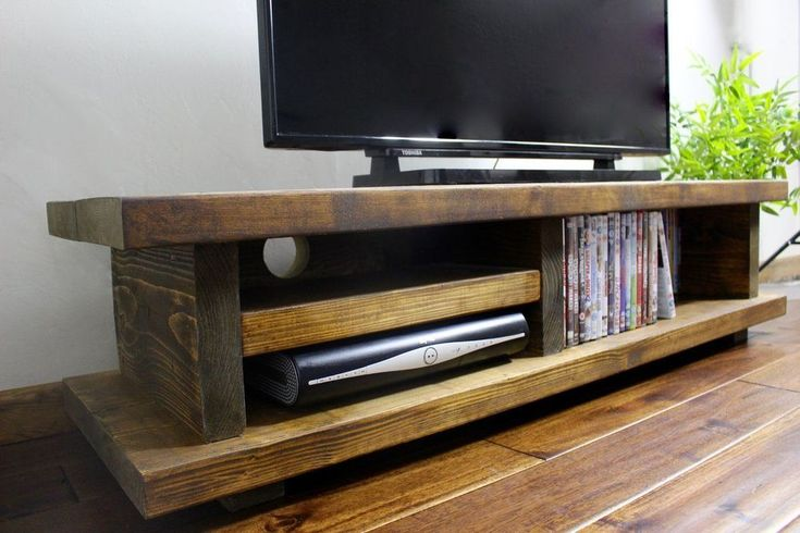 """Handmade Wooden TV Stand LCD Solid Unit Entertainment Accent Rustic Large 65"""""""