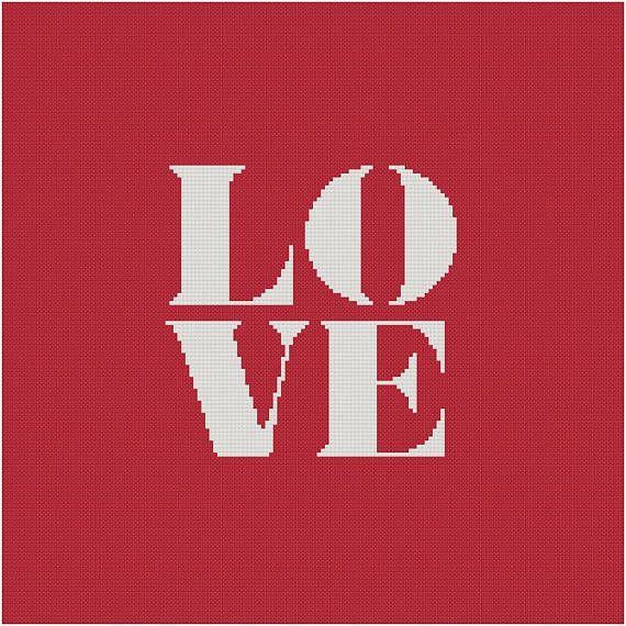 Cross stitch pattern LOVE  valentinevalentine's