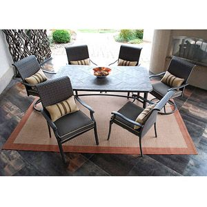 Lake park 7 piece patio dining set seats 6 i like this for Jardin 8 piece dining set