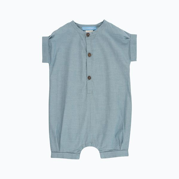 Organic Cotton Baby Suit - Stone Chambray - 3-24m