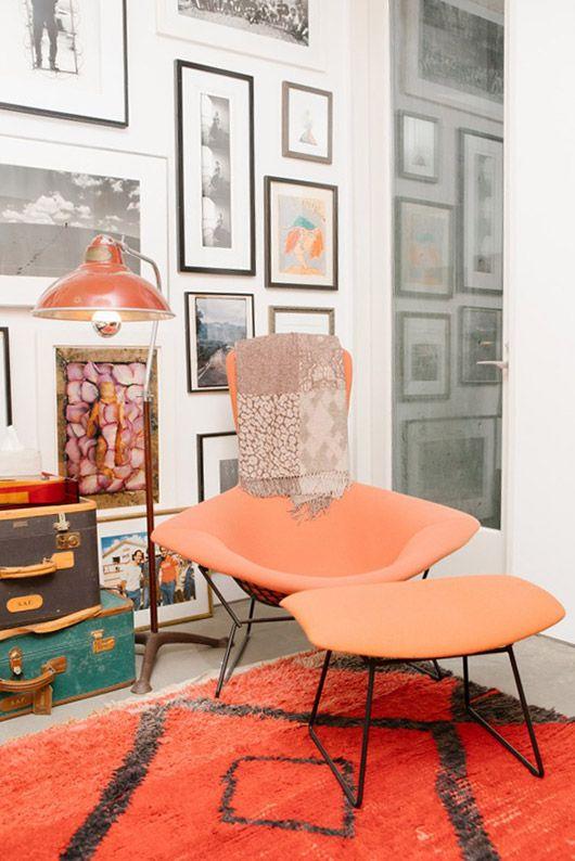 vintage orange lounge chair via coveteur. / sfgirlbybay