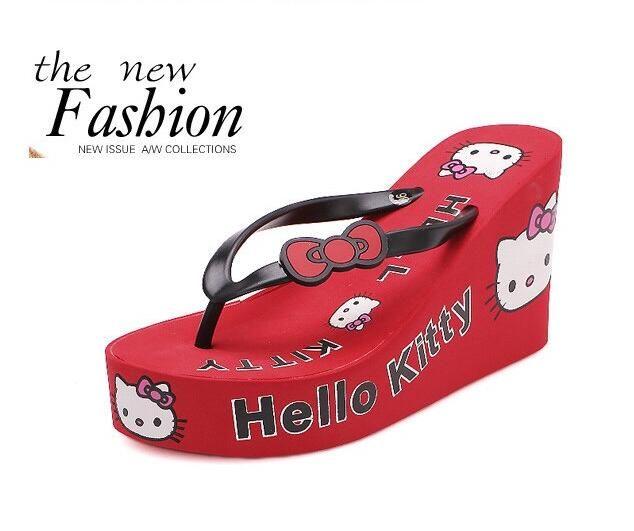 dc8fd0f08 Thick Bottom Platform Flip Flops hello kitty Wedge high Heel slipper Shoes  beach Woman Summer Sandals   Flip Flops   Platform flip flops, Sandals, ...