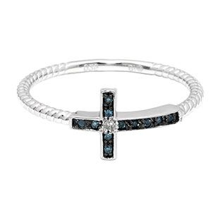 Cross Jewelry - Blue White Diamond Sideways Cross Sterling Silver Ring Available Exclusively at Gemologica.com
