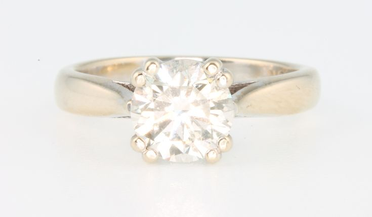 Lot 642, A good 18ct white gold single stone brilliant cut diamond ring, approx. 1.53ct VS2, K, size K, together with HRD Antwerp World Diamond Centre certificate Est £5500-6000