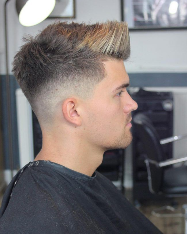 Fashionable Colored And Upswept Front Dark Hair With Highlights Men Hair Highlights Mens Haircuts Short