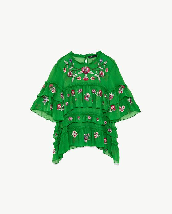 Image 8 of EMBROIDERED BLOUSE WITH RUFFLES from Zara