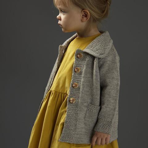 Moss Stitch Knitted Jacket - Grey - 6m-8y