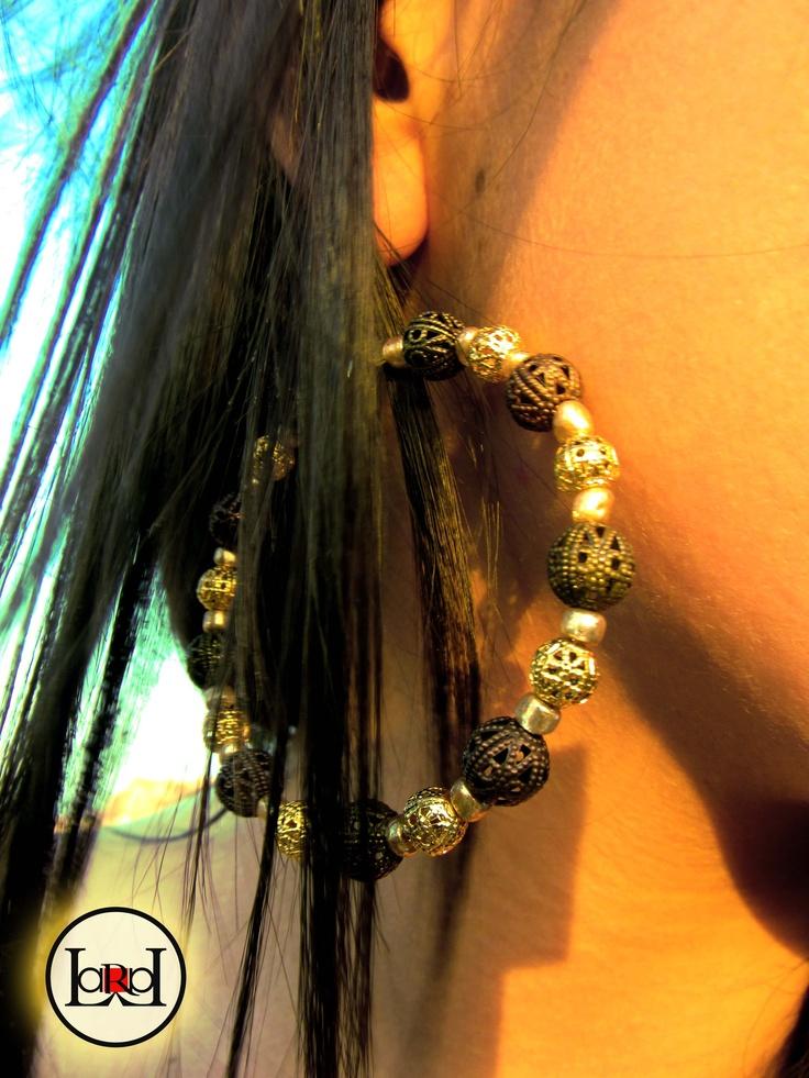Gold ethnic big earrings