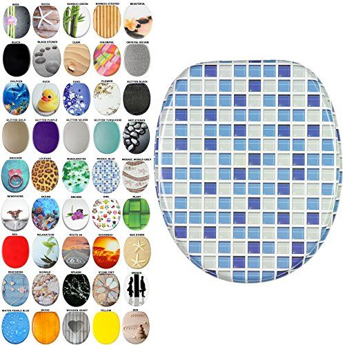 From 29.95 High Quality Toilet Seat Mosaic Blue | Great Range Of Colorful Toilet Seats | Stable Hinges | Easy To Mount