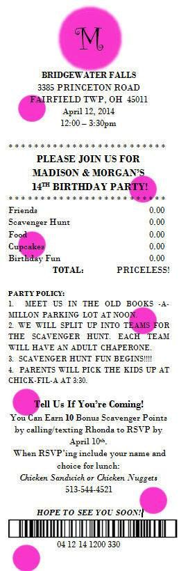 Mall Shopping Center Scavenger Party Invitations Scavenger Hunt Party Invitations Teen Birthday Party Ideas
