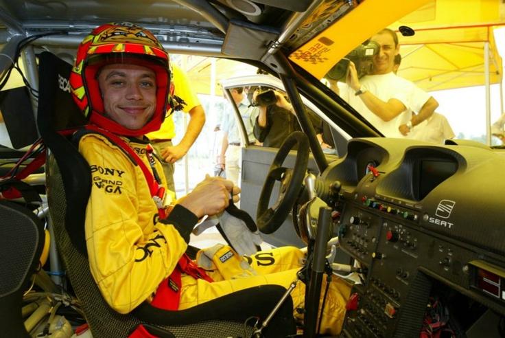 Valentino Rossi testing SEAT Córdoba World Rally Car. Martorell 2004
